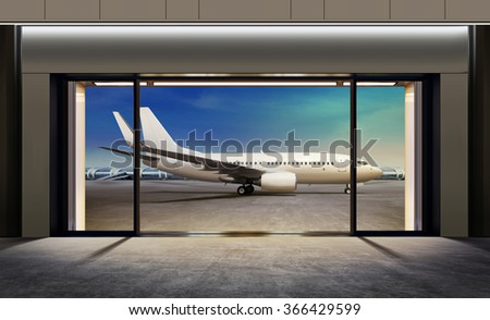 passenger plane expects tourists at airport - stock photo