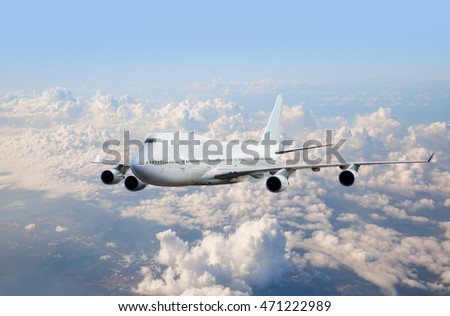 passenger plane fly down over take-off