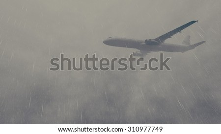 Passenger plane flying through cloudy rainy sky. Realistic 3D illustration was done from my own 3D rendering file.