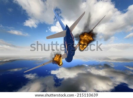 passenger plane in 3d crashing - stock photo