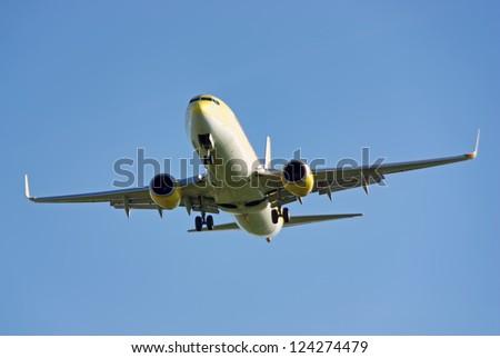 Passenger plane landing in the airport - stock photo