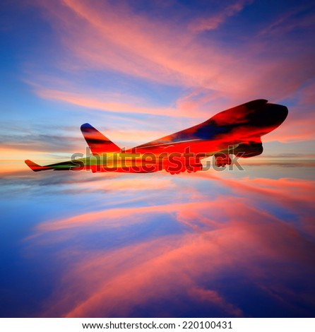 passenger plane on sky at sunset time very beautiful , use for air transport ,journey and travel industry business  - stock photo