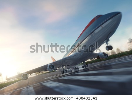 passenger plane take off from runways travel business background concept 3d illustration - stock photo