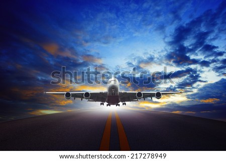 passenger  plane taking off from urban airport runways use for air transportation and cargo ,logistic business