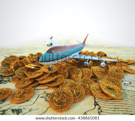 passenger plane with gold coins travel business background concept 3d illustration - stock photo