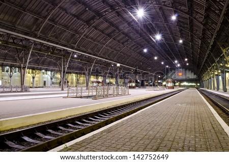 Passenger platform at the night on the railway station in Lvov, Ukraine - stock photo