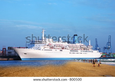 Passenger returning to the ship after visiting paradise. Sandwich off two photos. - stock photo
