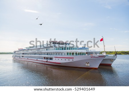 Passenger river ships are on the Svir River. Karelia, Russia.