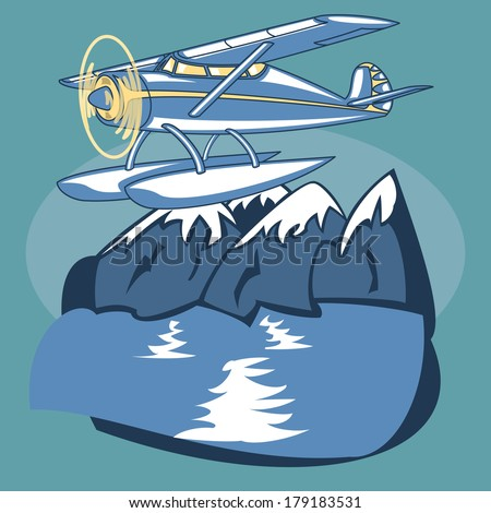 Passenger Sea Plane is featured flying over mountain lake in this sketch-like - stock photo