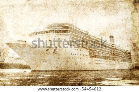 Passenger ship leaving port. Photo in vintage image style. - stock photo