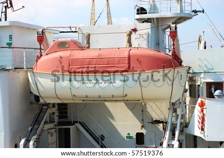 Passenger ship life boat - stock photo