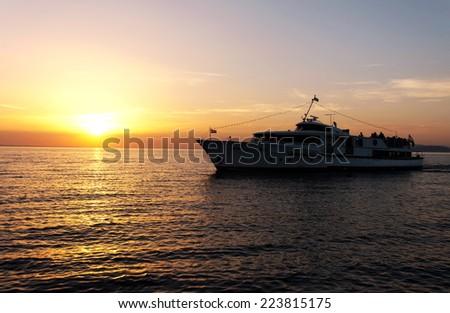 Passenger ship on Lake Balaton, Hungary - stock photo