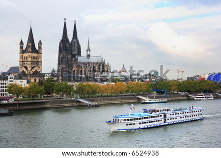 passenger ship on river Rhine at Cologne, Germany - stock photo
