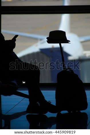 Passenger tourist at airport travel concept - stock photo