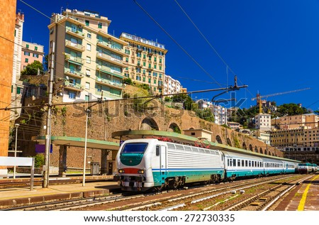 Passenger train at Genova Piazza Principe railway station - Italy - stock photo