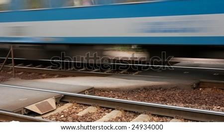 Passenger train motion blur - stock photo