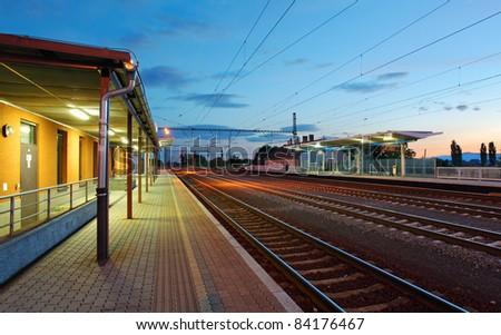 passenger train station - stock photo