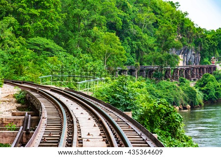 Passenger trains Tham Kasae bridge Death Railway on the River Kwai Kanchanaburi, Thailand