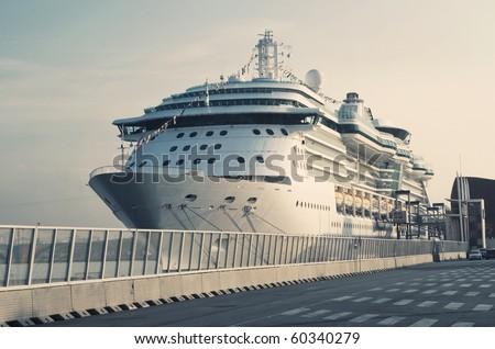 Passenger Transatlantic Cruise Liner Docked at Barcelona Passenger Terminal , Spain - stock photo
