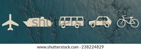 passenger transport vehicle icons on blue stone backdrop - stock photo