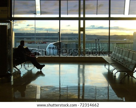 passenger waiting in the airport - stock photo