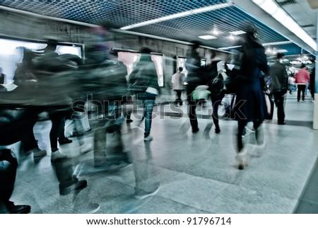 passenger walk at subway station - stock photo