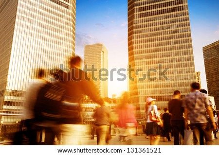 passenger walking on the walkway at shanghai china. - stock photo
