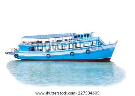 passenger wooden boat in tourist business in thailand floating on sea water isolated white background - stock photo