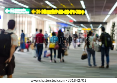 Passengers in Airport on blur background - stock photo