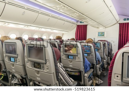 Passengers relax in the spacious Boeing 787-8 Dreamliner on a flight from Doha to Copenhagen, May 11, 2016,