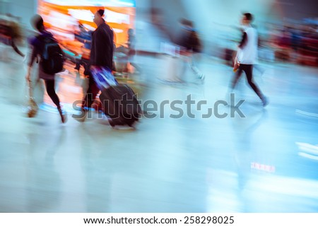 passengers rushing  - stock photo