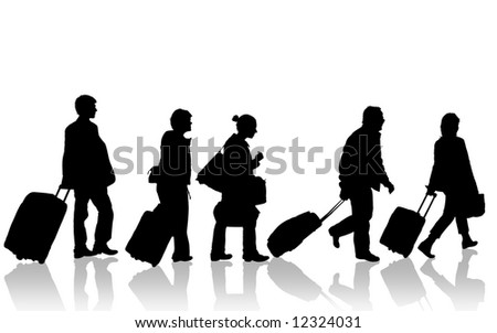Passengers silhouette - stock photo