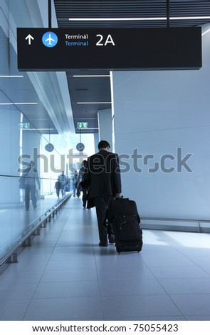 Passengers with luggage in the airport - stock photo