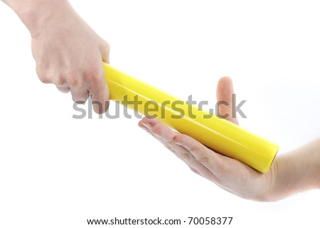 Passing a baton on a white background. - stock photo