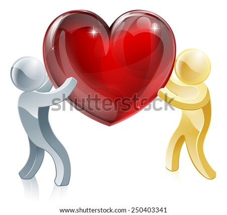 Passing love heart illustration of a silver person passing a big heart to a gold person or carrying it together  - stock photo