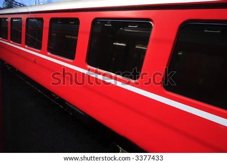 Passing Red Train - stock photo