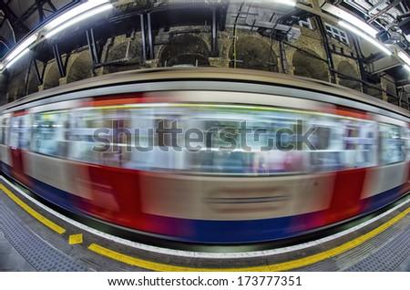 Passing train, London. - stock photo