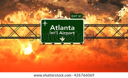 Passing under Atlanta USA Airport Highway Sign in a Beautiful Cloudy Sunset 3D Illustration