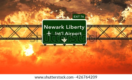 Passing under Newark Liberty USA Airport Highway Sign in a Beautiful Cloudy Sunset 3D Illustration - stock photo