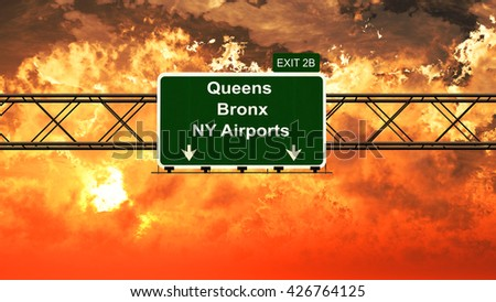 Passing under Queens Bronx NYC USA Airport Highway Sign in a Beautiful Cloudy Sunset 3D Illustration