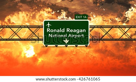 Passing under Washington Ronald Reagan USA Airport Highway Sign in a Beautiful Cloudy Sunset 3D Illustration - stock photo