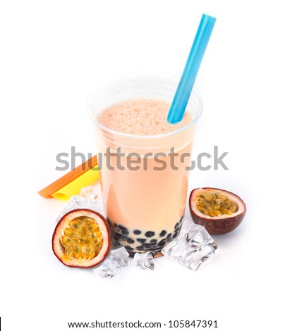 Passion Fruit Boba Bubble Tea with fruits and crushed ice. - stock photo