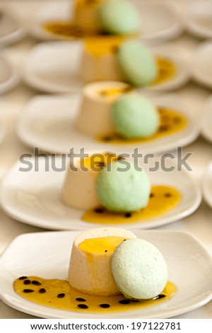 passion fruit creme with pistachio Cookie - stock photo
