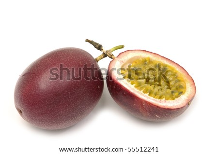 passion fruit , cut open on white - stock photo