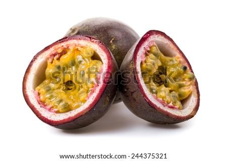 Passion fruit freshly cut - stock photo