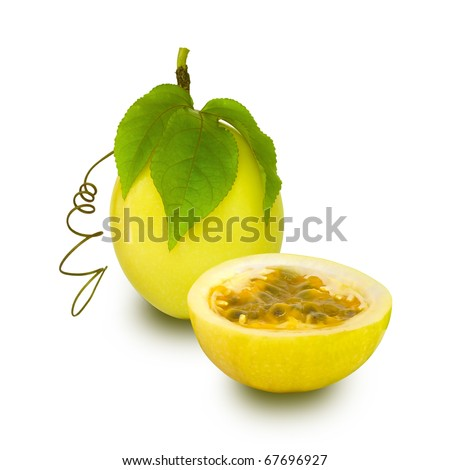 Passion Fruit isolated - stock photo