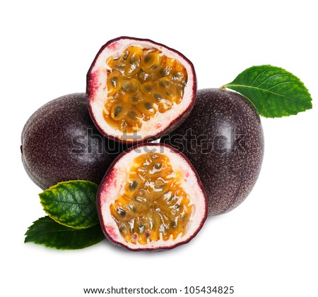 Passion fruit  isolated on a white background - stock photo