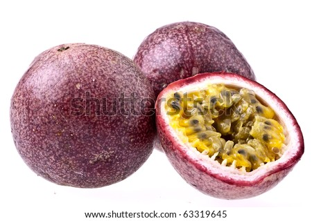 Passion Fruit, isolated on white - stock photo