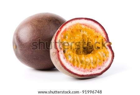 passion fruit isolated on white - stock photo