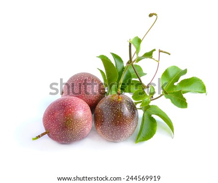 Passion fruit isolated on white background - stock photo